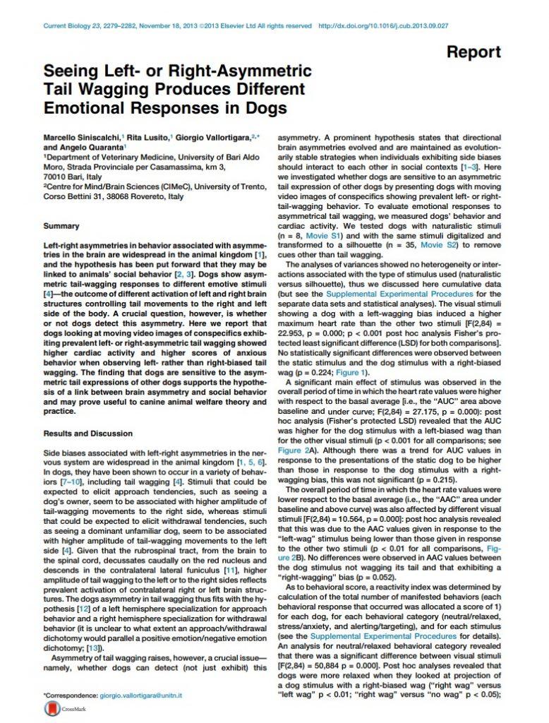 Linguaggio del corpo del cane. lo studio italiano
